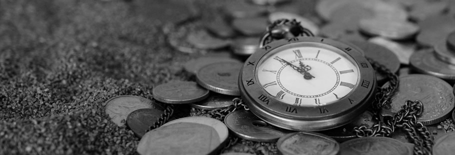 Pocket watch on coins